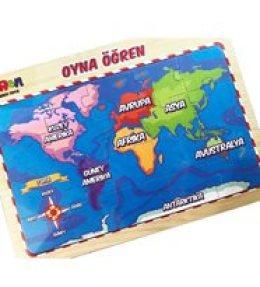 20 Parçalı Türkiye Ve Dünya Haritalı Oyna Öğren  Tekli Puzzle
