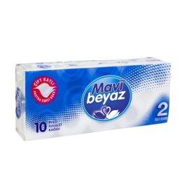 Mavi Beyaz Çift Katlı Tuvalet Kağıdı 10 Rulo
